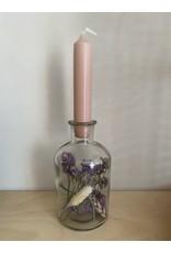 Droogbloemen glas + kaars paars