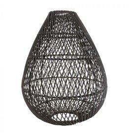 Rotan hanglamp druppel zwart