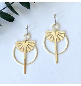 Oorhangers ring sun gold