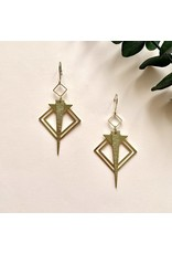 Oorhangers square triangle gold