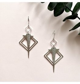 Oorhangers square triangle silver