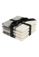 Set van 4 onderzetters marmer grijs/wit