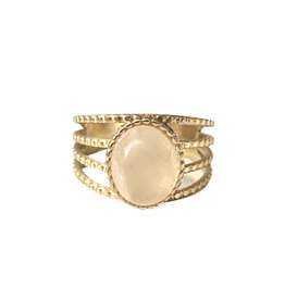 Ring ovale steen One size