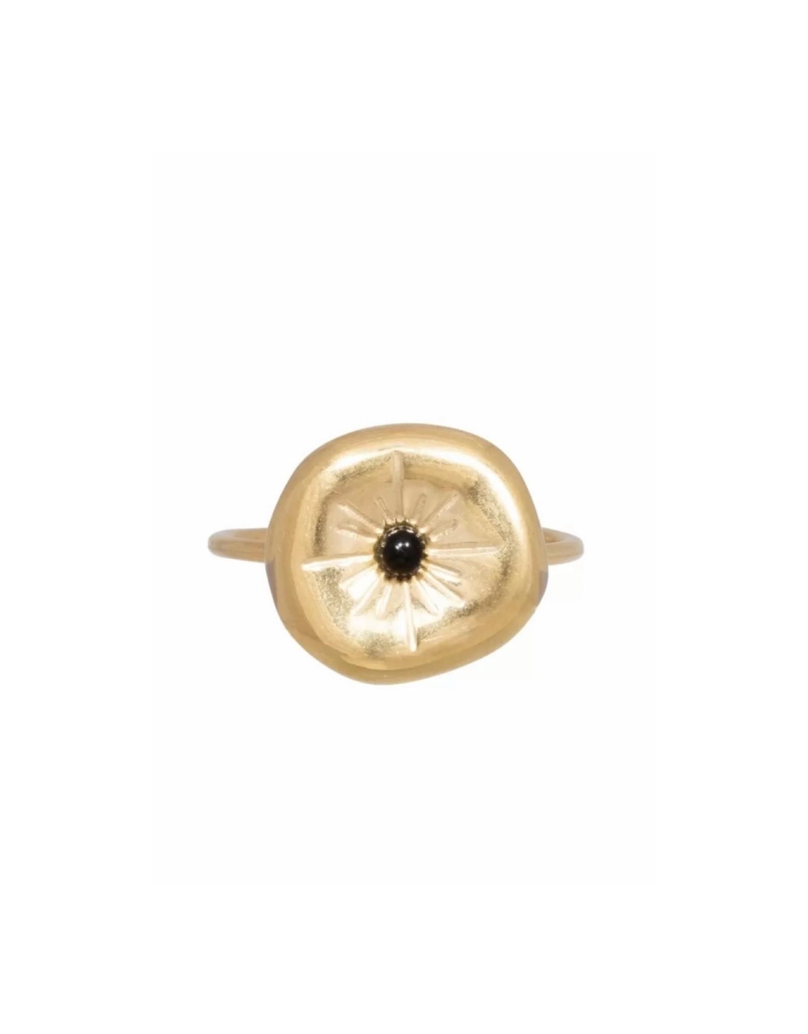Ring bloem onyx