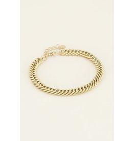 Armband brede schakels goud