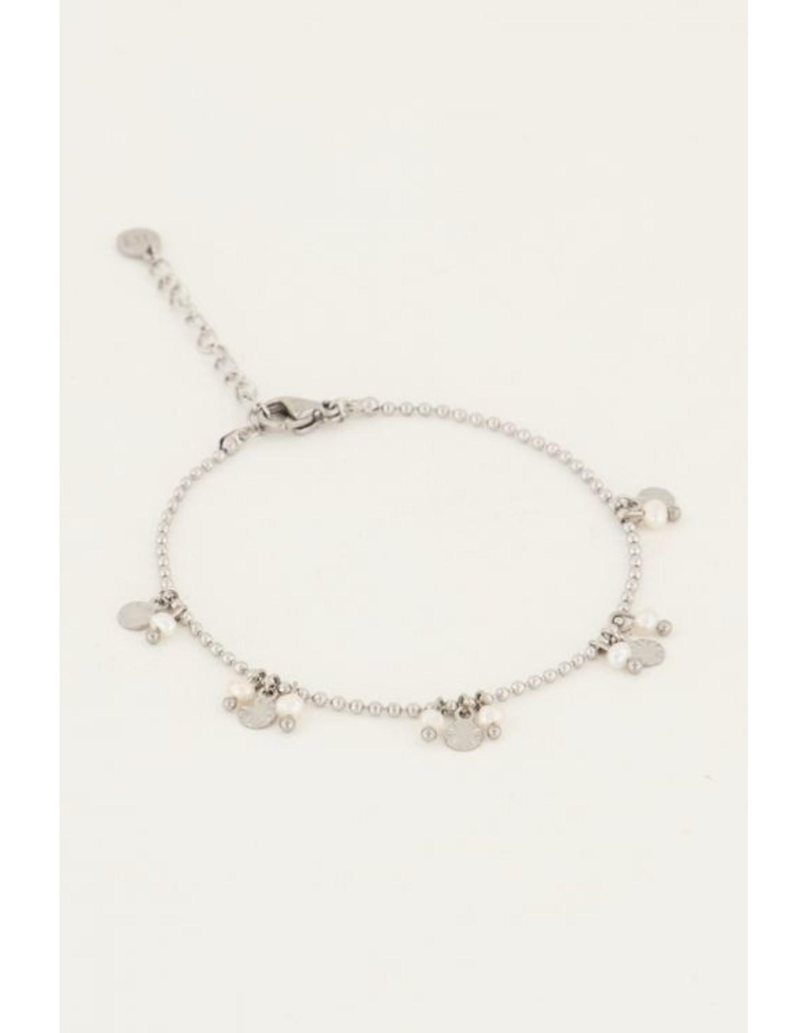 Armband pareltjes en rondjes zilver