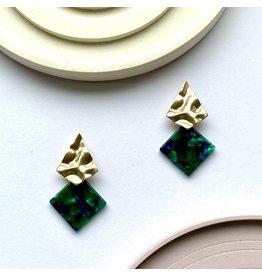 Oorhangers acetaat green gold