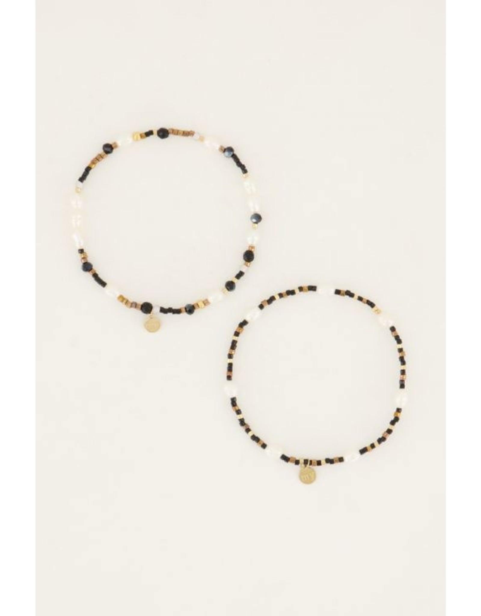Set van 2 armbandjes zwart parel