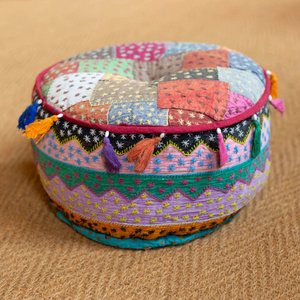 Medium Patchwork Pouf with Tassels
