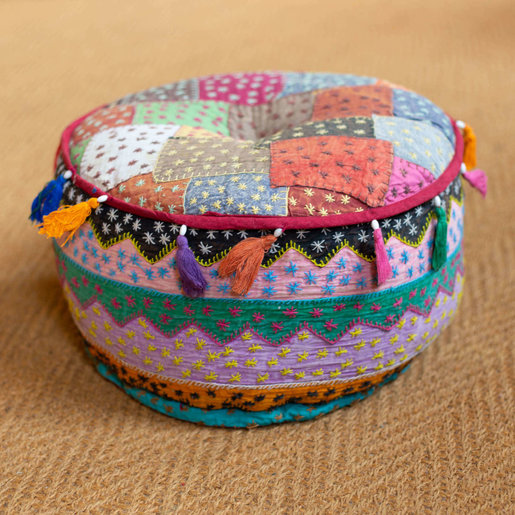 India - Textiles Medium Patchwork Pouf with Tassels