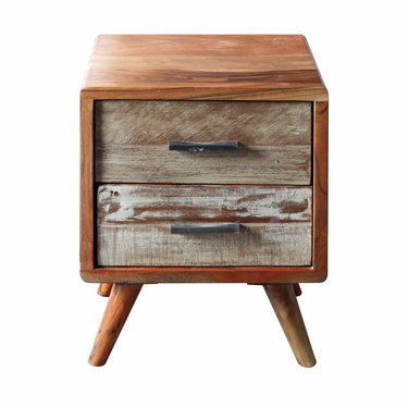India - Reproduction Furniture Zen Acacia 2 Drawer Bedside Cabinet