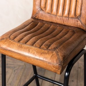 Jenson Distressed Leather Bar Stools -Tan