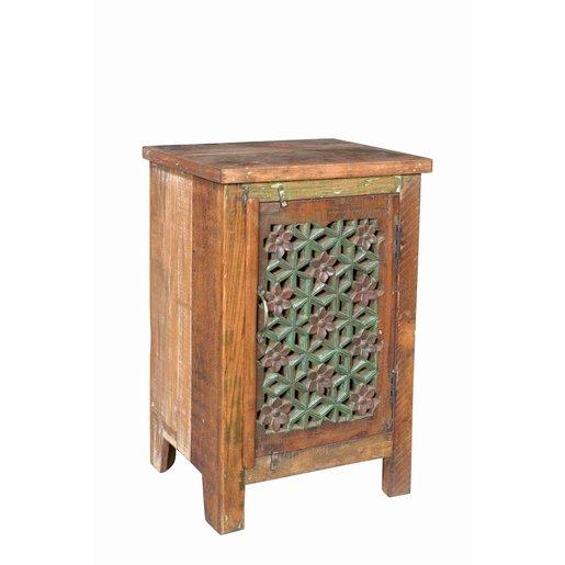 India - Old Furniture Jali Door Bedside Cabinet
