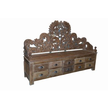 India - Old Furniture Elaborate Carved Storage Bench