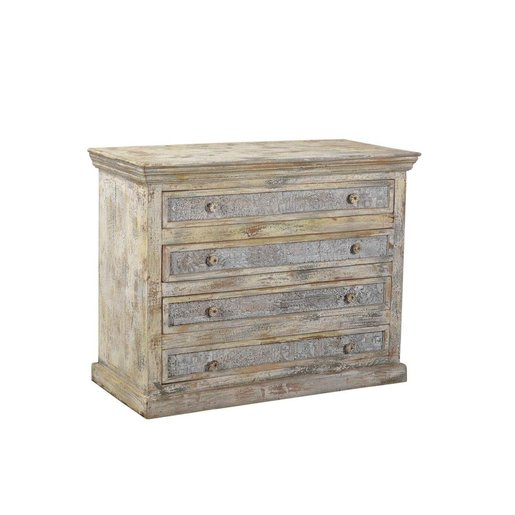 India - Old Furniture Print Block Chest Of Drawers