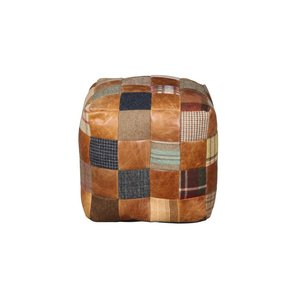 Beanbag Cube Leather & Wool