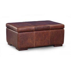 Large Leather Storage Footstool