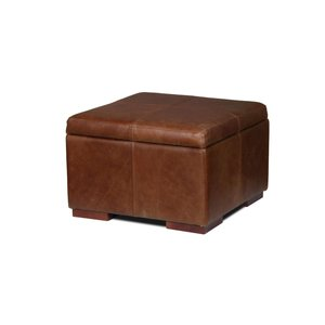Square Leather Storage Footstool