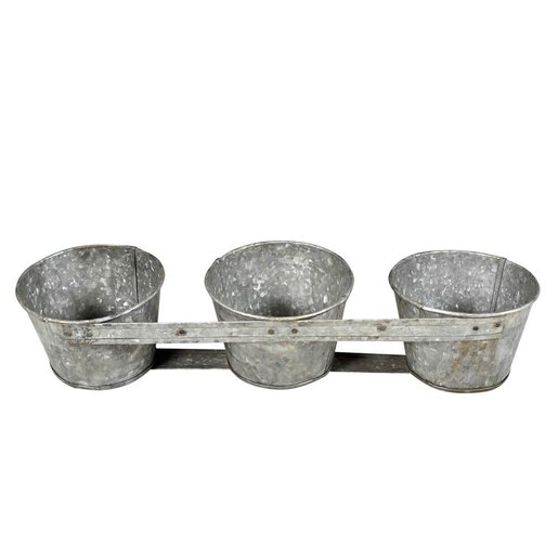 India - Handicrafts Recycled iron triple planter