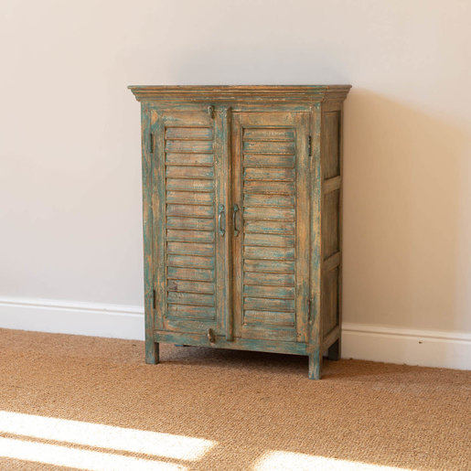 India - Old Furniture Painted Green Louvre Cabinet