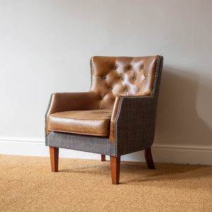 Stanford Leather Chair - Moreland Fabric