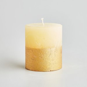 Ivory Inspiritus Gold Dipped Pillar Candle