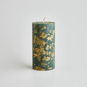 Winter Thyme Gold Marbled Pillar Candle