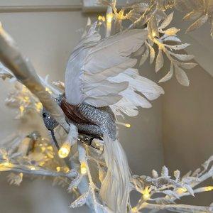 White & Silver Clip On Hummingbird