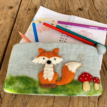 Level 1 Accessories Fox Needle Felt Pencil Case