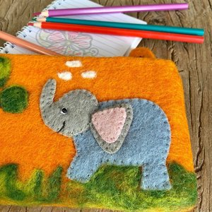Elephant Needle Felt Pencil Case