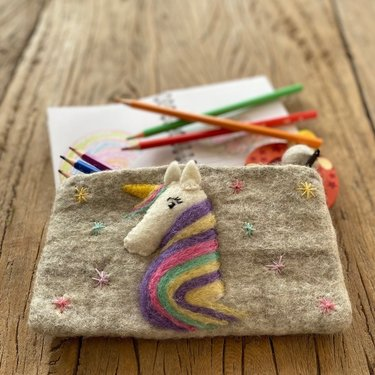 Level 1 Accessories Unicorn Needle Felt Pencil Case