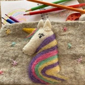 Unicorn Needle Felt Pencil Case