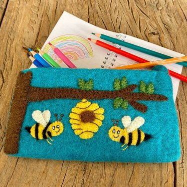 Level 1 Accessories Blue Bee Hive Needed Felt Pencil Case