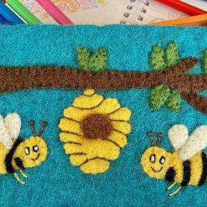 Blue Bee Hive Needed Felt Pencil Case