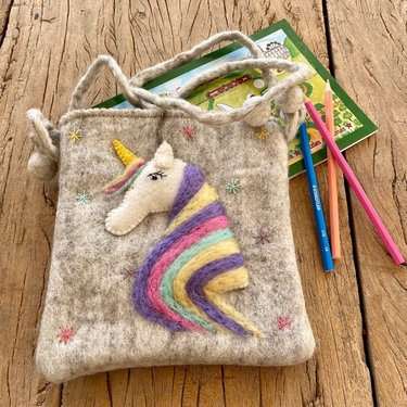 Level 2 Accessories Unicorn Needle Felt Shoulder Bag