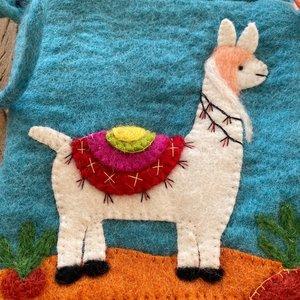 Llama Needle Felt Shoulder Bag