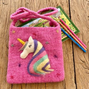 Pink Unicorn Needle Felt Shoulder Bag