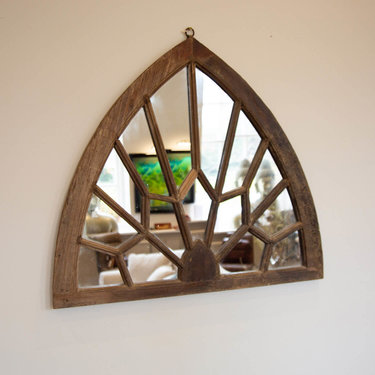 India - Old Furniture Arched Jali Mirror