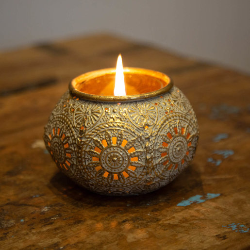 Level 1 Accessories Gold Filigree Candle Holder