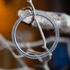 Silver Bangle with Fretwork