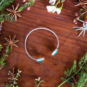Silver & Green Agate Bracelet
