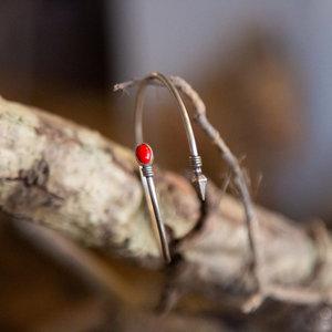 Red Stone & Diamond Point Bracelet