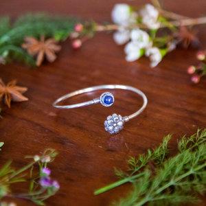 Lotus Flower &  Blue/Purple Stone Bracelet
