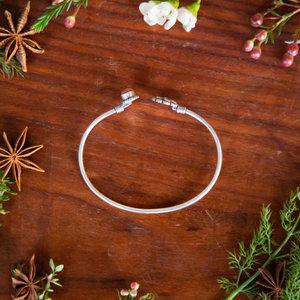 Lotus Flower & Brown Stone Bracelet