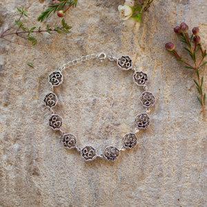 Silver Om Circle Bracelet