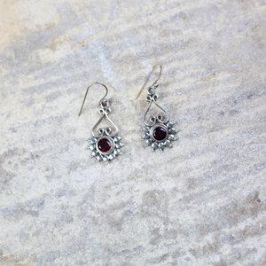 Silver & Garnet Drop Earrings