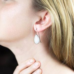 Silver & Moonstone Pear Drop Earrings