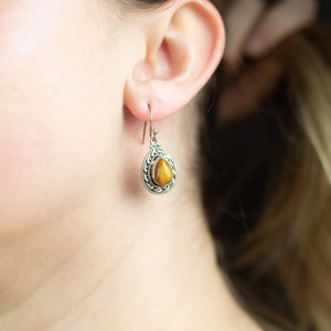 Silver & Tiger's Eye Earrings