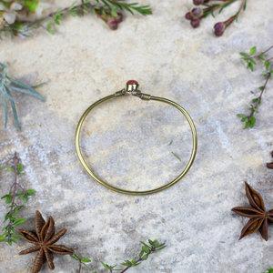 Lotus Leaf & Brown Sparkly Stone Bracelet