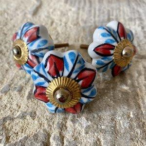 Blue & Red Flower Ceramic Knob